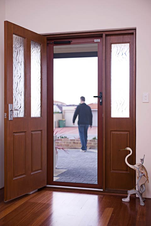 ClearShield-Security-Screen-Door-Brown