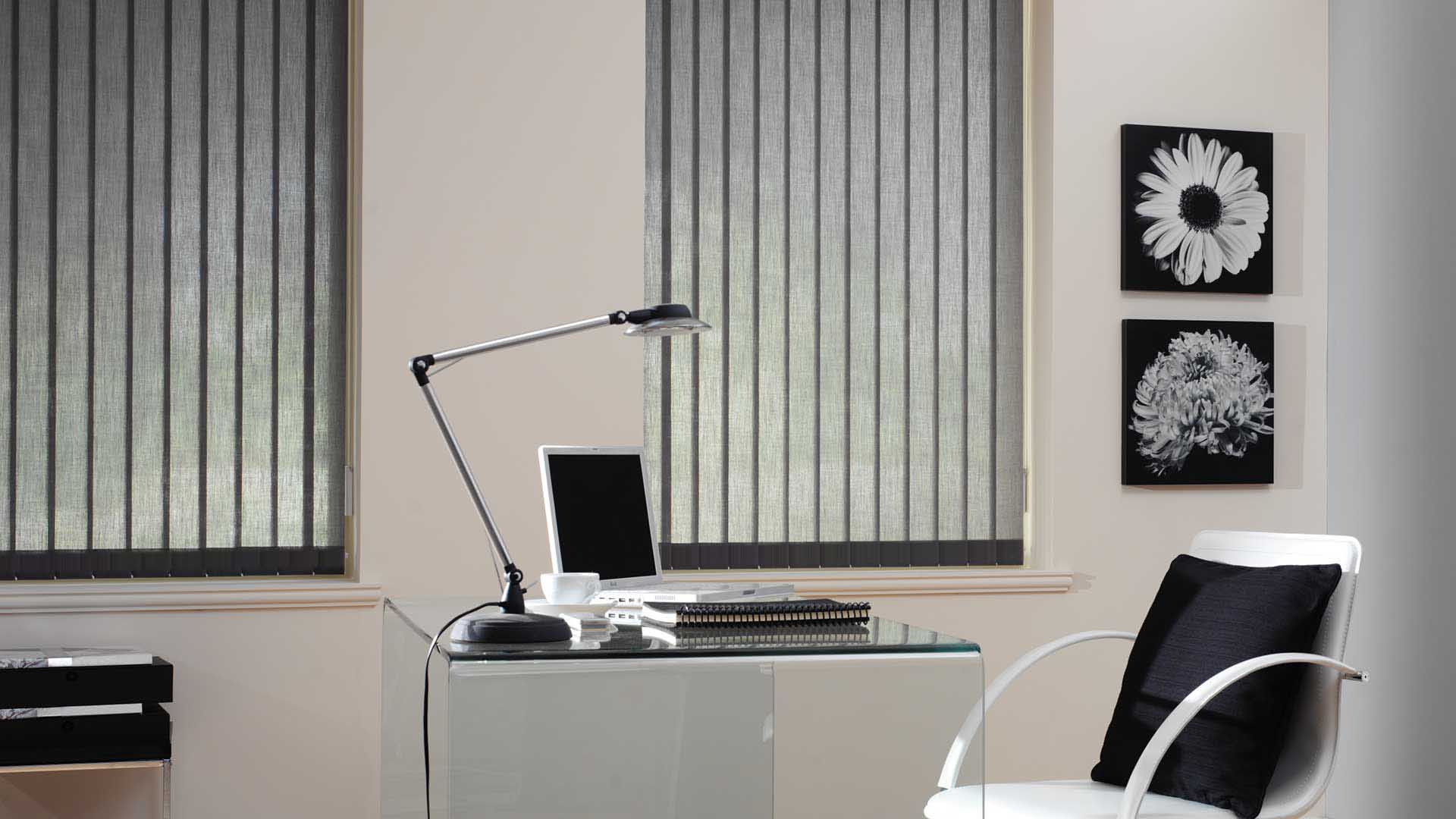 studio style vertical simplistic post black blinds by blind palette